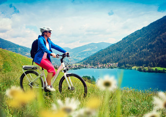 girl with e-bike in nature / e-power 04