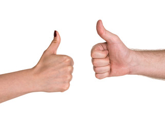 Businesspeople's hand showing thumb up sign