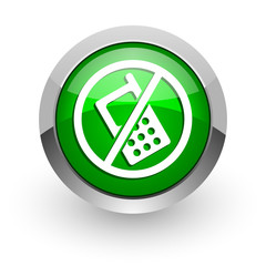 no phone green glossy web icon
