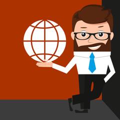 Lucky businessman is presenting an internet simbol