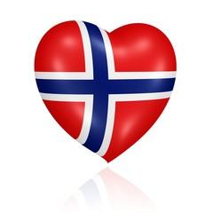 Herz in den Farben der Flagge Norwegens