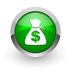 money green glossy web icon