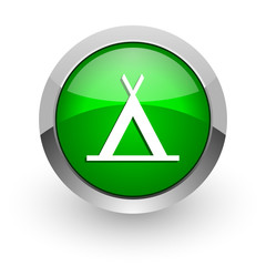 camp green glossy web icon