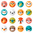 cute animal smiley face stickers isolated on white