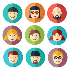 Flat avatar icons, faces, people icons