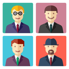 Flat colorful businessman avatar icons