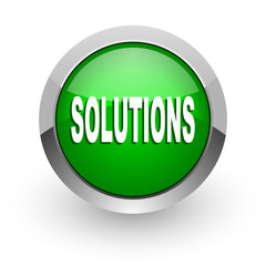 solutions green glossy web icon