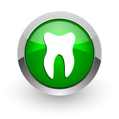 tooth green glossy web icon
