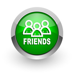 friends green glossy web icon