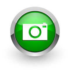 camera green glossy web icon