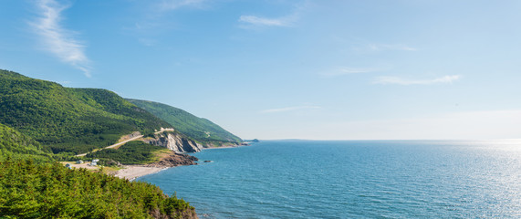 Panorama of a coastal scene on the cabot trail