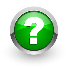 question mark green glossy web icon