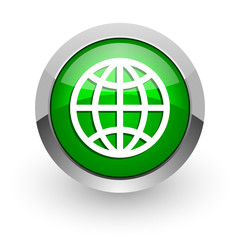 earth green glossy web icon