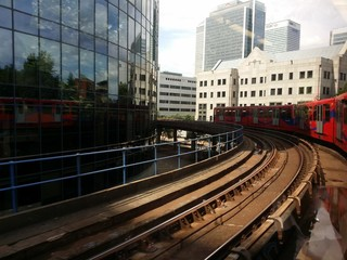 London Railway between buildings