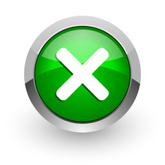 cancel green glossy web icon