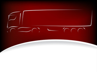 Abstract truck silhouette design on red background