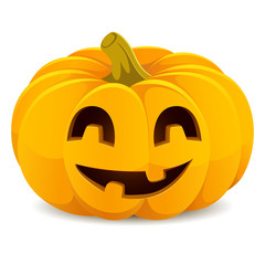Halloween pumpkin. Smiling Jack-O'-Lantern on a white background