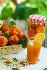 Apricot, jars of apricot and juice