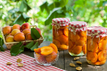 Apricots compote and fresh apricots