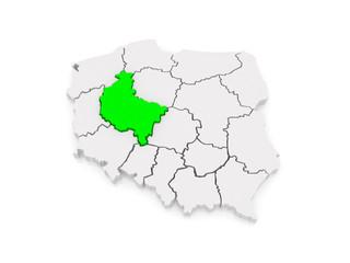 Map of Wielkopolska. Poland.