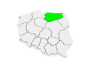 Map of Warmia-Mazury. Poland.