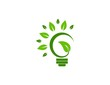 eco green logo realty light bulb lamp bio plant vector