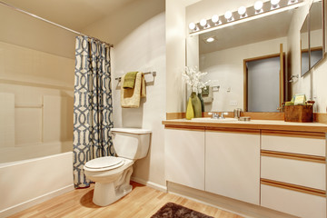 Soft creamy bathroom interior