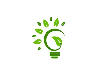 eco green logo realty light bulb lamp bio plant vector