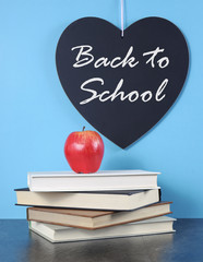 Back to School heart blackboard with red apple