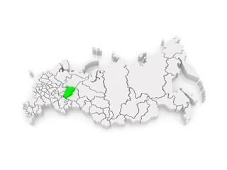 Map of the Russian Federation. Perm Krai.