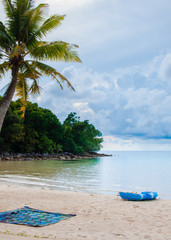 Exotic tropical beach with white sand and blue waters