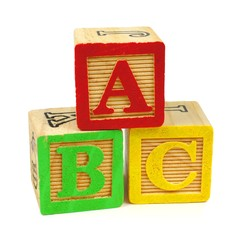 ABC toy wooden blocks isolated on a white background