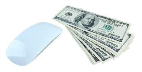 Computer mouse and dollars isolated on white