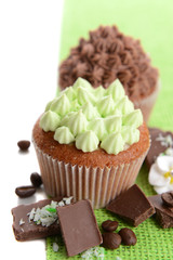 Tasty cupcakes with butter cream,on color napkin, isolated