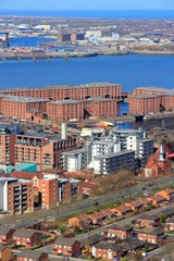 Liverpool aerial view with Albert Dock, United Kingdom