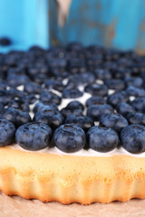 Tasty homemade pie with blueberries, close up