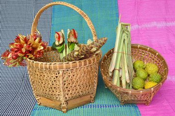 herbs in bamboo basket