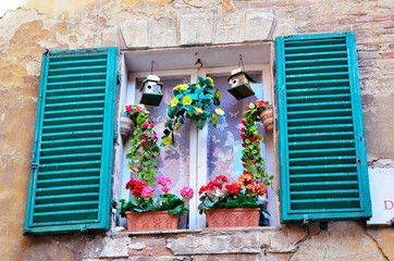 picturesque window in Siena, Tuscany, Italy