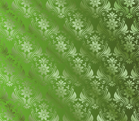 Abstract Green Background With Floral