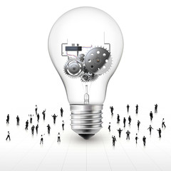 people around the light bulb with gear