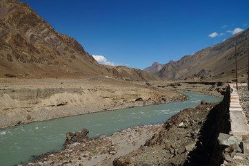 Himalaya mountain landscape with river Leh, Ladakh, India