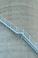Steel stairs on concrete cooling tower