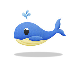 cartoon blue whale is animal in underwater to sea