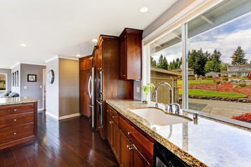 Luxury kitchen room with window view