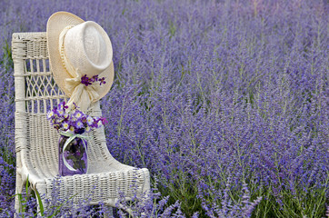 hat on chair in Russian sage