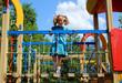 happy little girl on playground