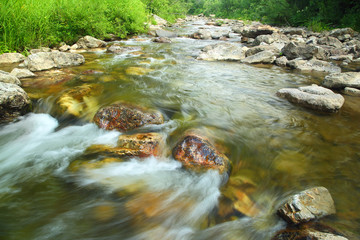 mountain river in summer - long exposure