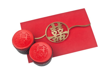 Traditional Chinese wedding invitation card with two cupcakes