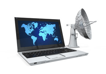 Laptop with Satellite Dish