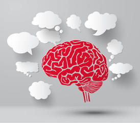 Brain and set of blank  paper speech bubbles.
